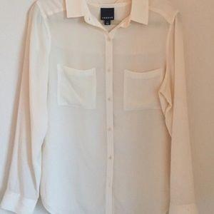 Trouve 100% silk cream blouse size S